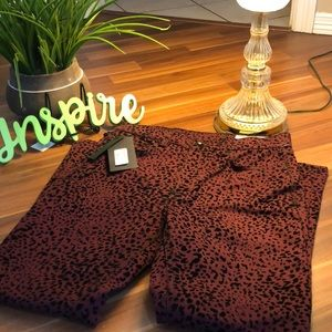 NEW Rag & Bone burgundy cheetah jeans